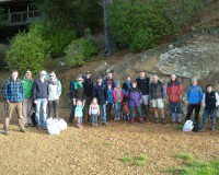 Group photo of volunteers helping with the penguin box placement on 9 June.